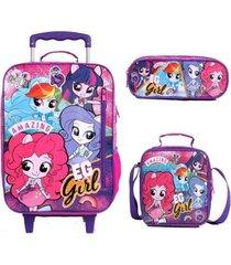 mochila com rodinhas equestria girls pink com lancheira e estojo feminino