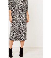 loft animal spotted knit column skirt