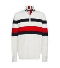blusa masculina bold global stripe zip mock - bege