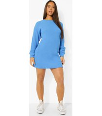 official gebreide sweatshirt jurk, pastel blue
