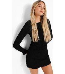 geplooide crop top met lange mouwen en mini rok, black