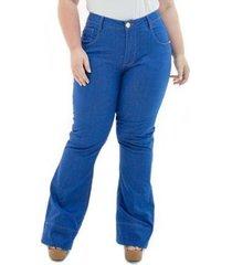 calça jeans feminina confidencial extra flare missy plus size