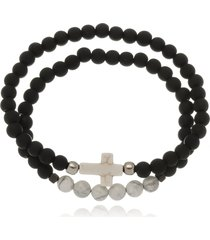 conjunto le diamond bolas emborrachadas e pingente cruz preto