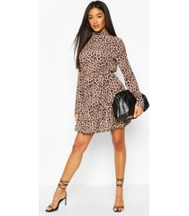 leopard print high neck skater dress, brown