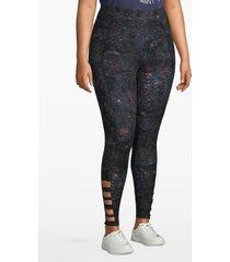 lane bryant women's active 7/8 legging - strappy hem 26/28 blue texture