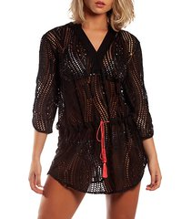 crocheted tie-front coverup