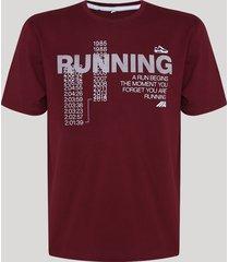 "camiseta masculina esportiva ace ""running"" manga curta gola careca vinho"