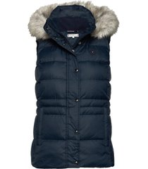 th ess tyra down vest with fur vests padded vests blauw tommy hilfiger