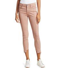 le high skinny asymmetric hem jeans