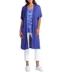 women's short sleeve long knit cardigan