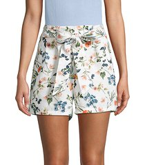botanical-print tie-waist linen shorts