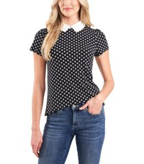 cece petite puff sleeve collared knit top
