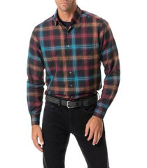 men's rodd & gunn freemans bay sports fit plaid button-up shirt, size x-large - grey