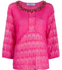 blumarine embellished decorative knit blouse - pink