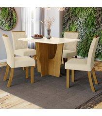 mesa de jantar 4 lugares denise nature/off white/linho - bci móveis