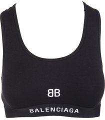balenciaga black sports bra with white bb logo