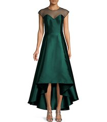 pleated high-low gown