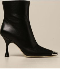 sergio rossi heeled booties sergio rossi ankle boot in leather with metal tip