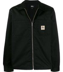 stussy zip-up work jacket - black