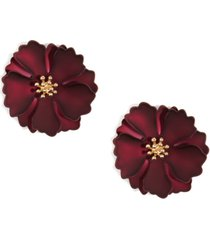 zenzii 18k gold-plated suede-painted flower stud earrings