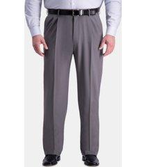 haggar men's big & tall premium comfort stretch classic-fit solid pleated dress pants
