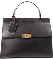 balenciaga le dix cartable m black leather satchel bag black sz: m