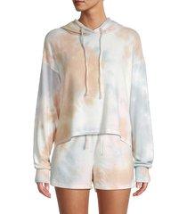 allison new york women's tie-dyed drawstring hoodie - size l