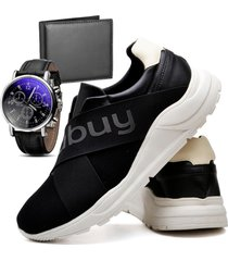 tênis sapatênis casual asgard com carteira e relógio masculino db 243lbm preto