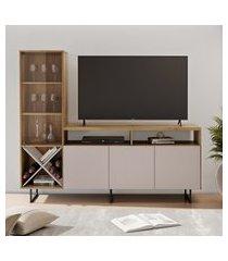 rack para tv até 56 pol jcm movelaria luz com cristaleira