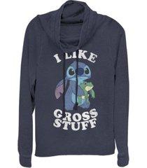 fifth sun women's disney lilo stitch i like gross stuff stitch fleece cowl neck sweatshirt