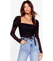 womens body language puff sleeve high-leg bodysuit - black