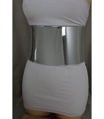 hot women fashion black / silver wide faux leather corset belt waist plus m l xl