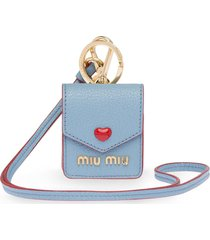 miu miu madras love earphone case - blue
