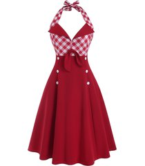 vintage plaid tied mock button backless dress