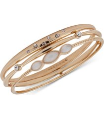 anne klein gold-tone 3-pc. set crystal & stone bangle bracelets