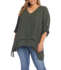 plus size women's karen kane layered asymmetric top, size 2x - green