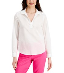 charter club petite cotton collared top, created for macy's