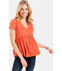 helen butterfly babydoll top - coral