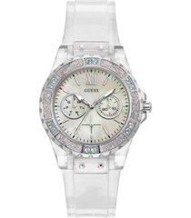 guess women's clear silicone strap watch 39mm