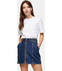 considered mid blue denim skirt with front zip with recycled cotton - mid stone