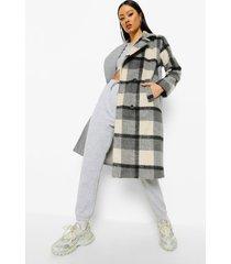 geruite gesplitste nepwollen jas, grey