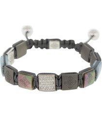 aquamarine and black pearl titanium lock bracelet