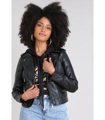 jaqueta biker feminina com bolsos preta