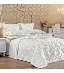 cobre leito 3 peças queen santorini branco/bege