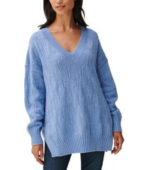 lucky brand drop-sleeve braided-stitch sweater