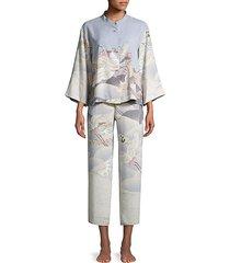 two-piece printed mandarin pajama set
