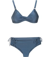 lygia & nanny marcela high rise bikini set - blue