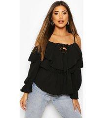 cold shoulder linen blouse, black