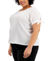 style & co plus size tie-sleeve top, created for macy's
