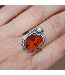 -perła i bursztyn-pierścionek-